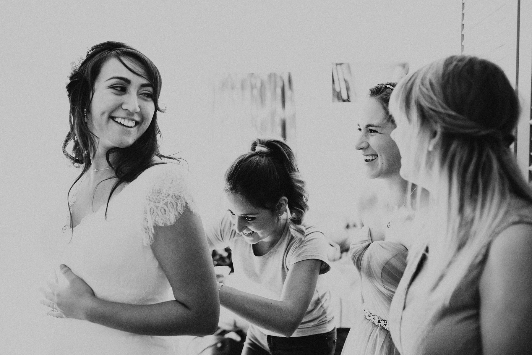 bride getting ready with brides maids