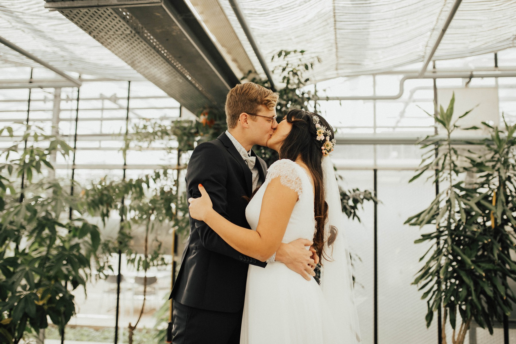 first wedding kiss greenhouse
