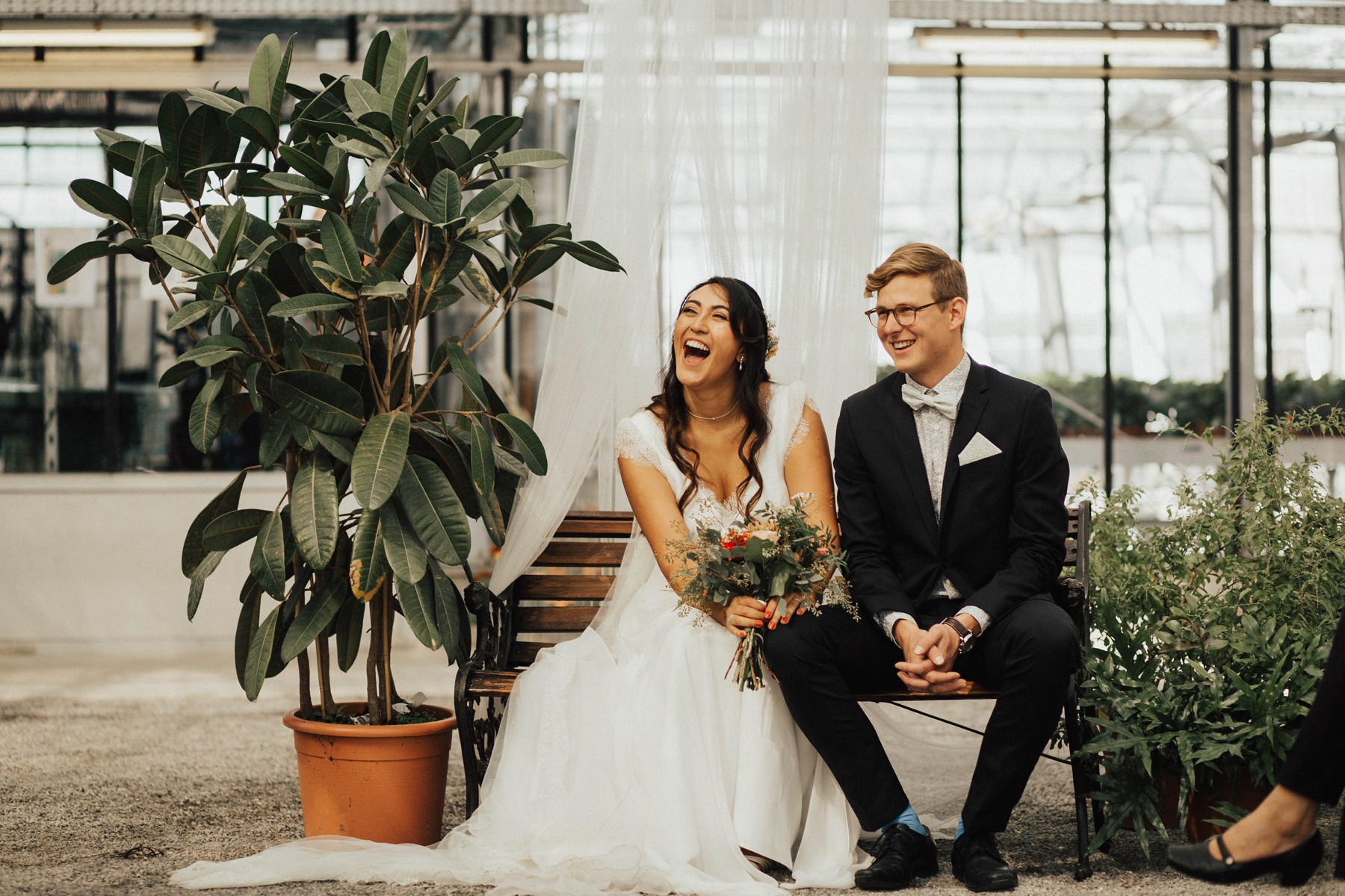 happy newlyweds greenhouse