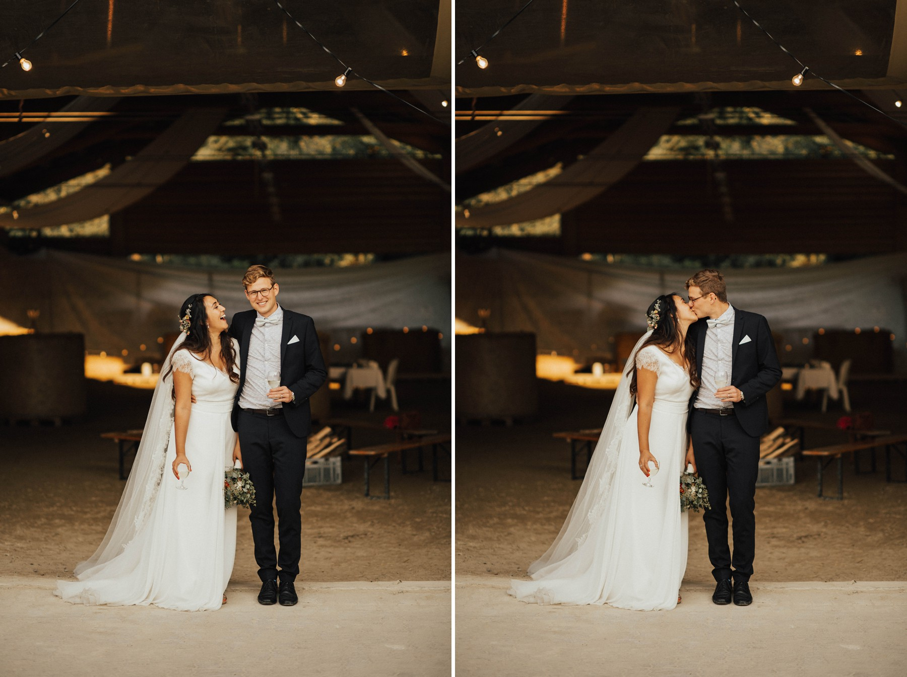 beautiful wedding couple in front of vintage barn