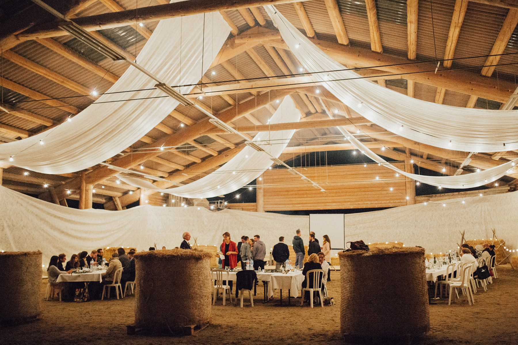 vintage barn with light strings at hof gertau