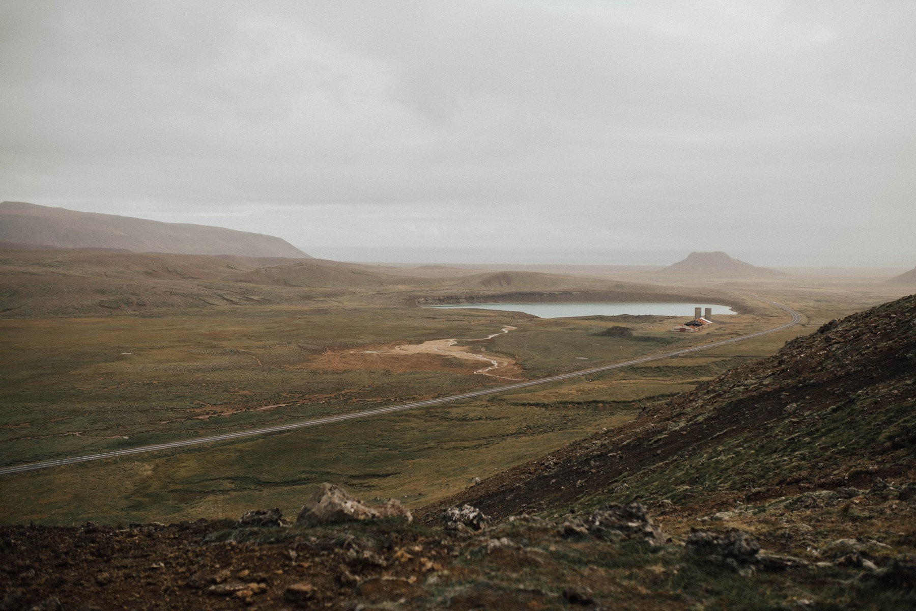 icelandic landscape with foggy weather