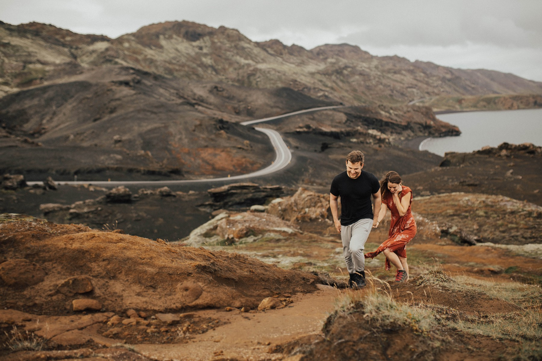 adventurous couple going for a walk in iceland